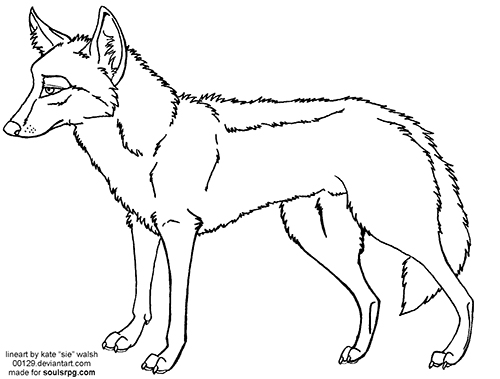 Coyote Standing Lineart Preview Image