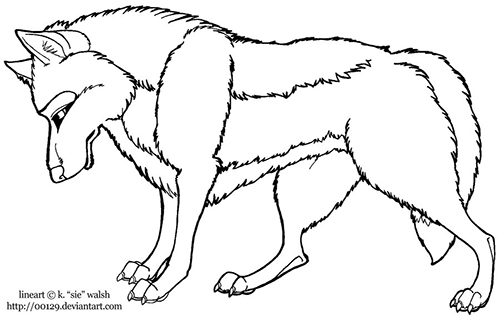 Wolf Standing Lineart Preview Image