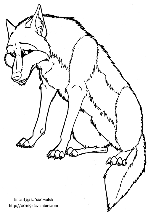 Wolf Sitting Lineart Preview Image
