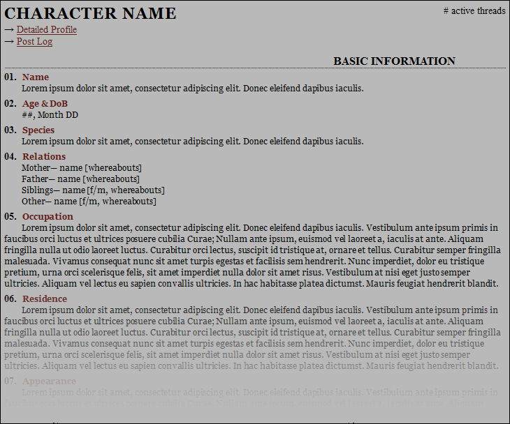 Paragraph Roleplay Character Sheet Preview Image