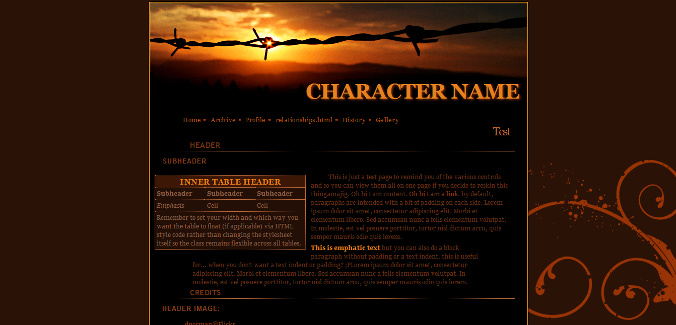 RPG Character Profile Site HTML Preview Image