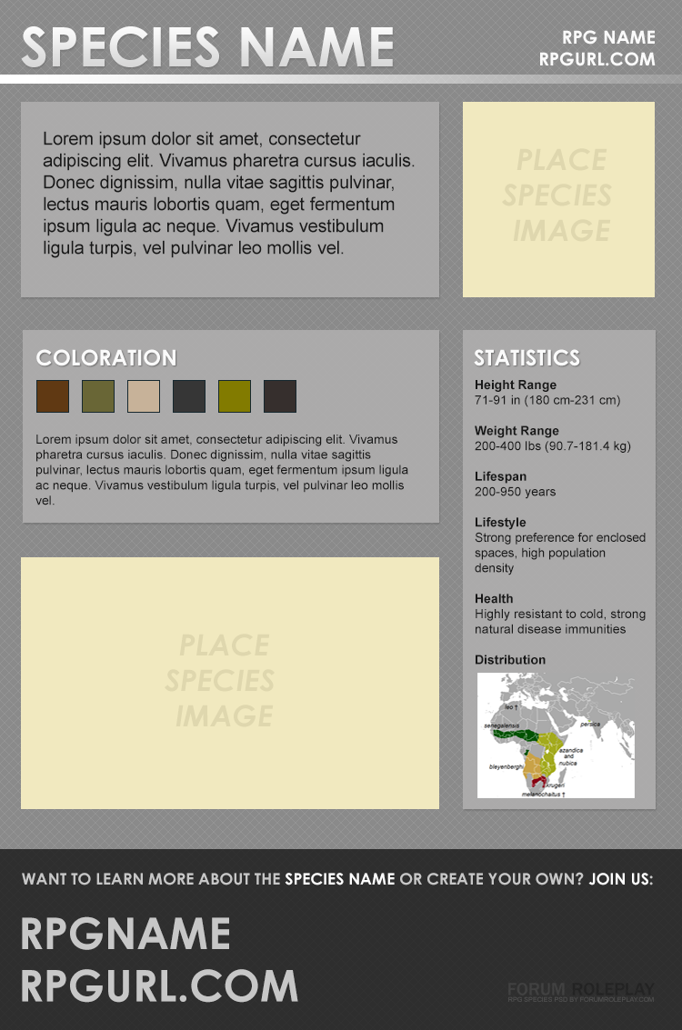 RPG Species PSD Template Preview Image